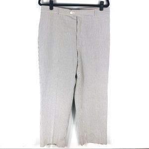 Burberry London Seersucker flat front stripe pant